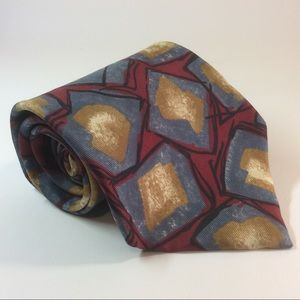 Christian Dior red blue gold silk tie 58/3.75""